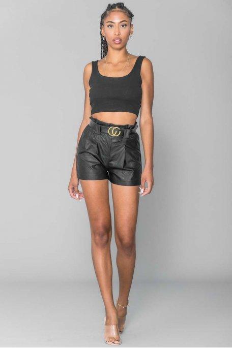 Short simili ceinture noir