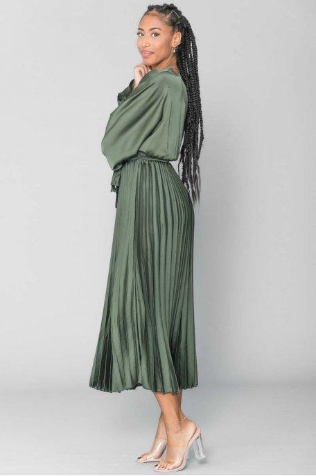 Robe longue plissé satiné ceinture kaki