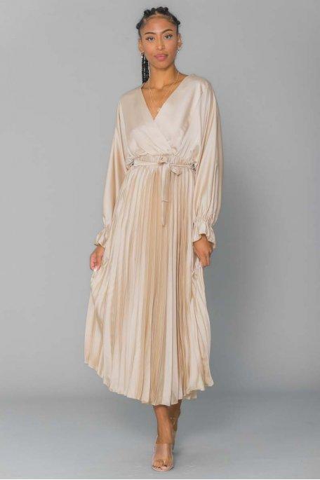 Robe longue plissé satiné ceinture beige