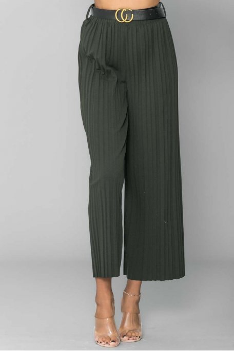 Pantalon plissé ceinturé kaki