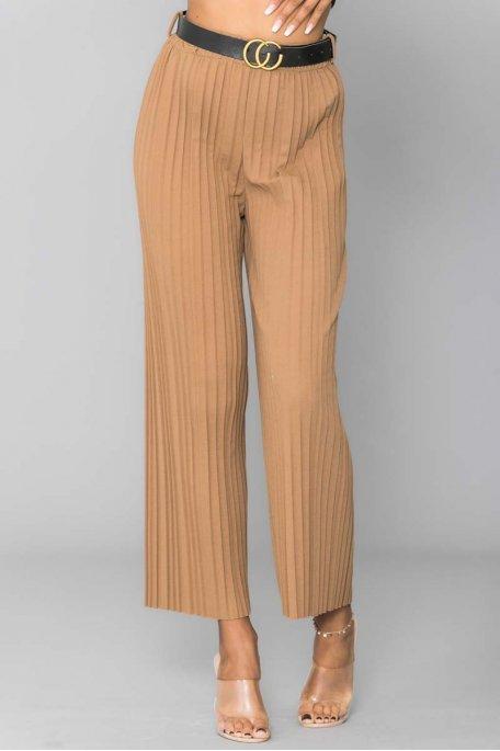 Pantalon plissé ceinturé camel