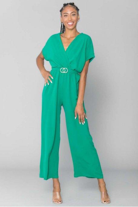 Combinaison ceinture boucle vert