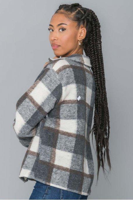 Chemise à carreaux gris