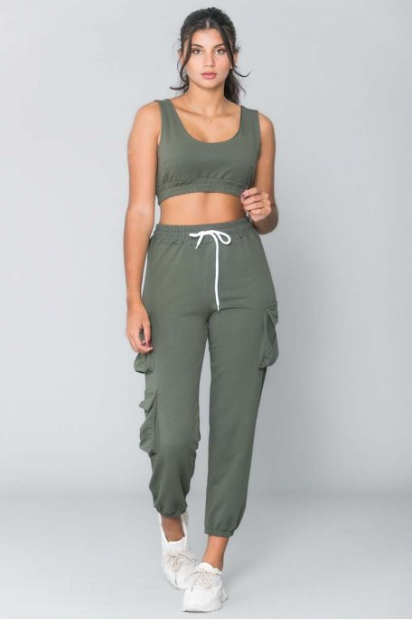 Ensemble cargo crop top kaki