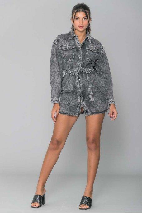 Veste en jean longue noire