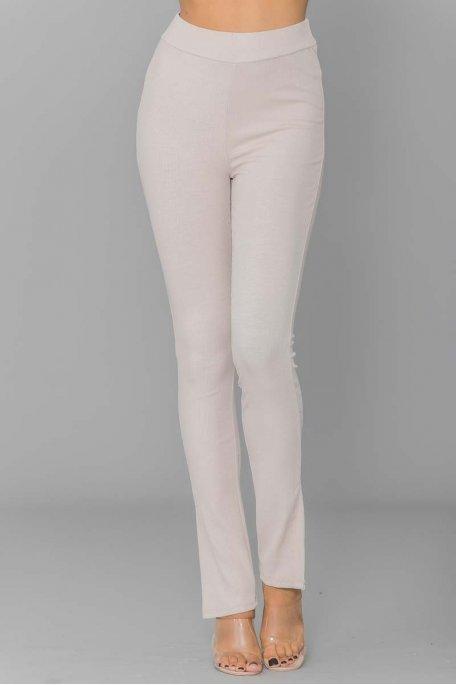 Pantalon fluide  côtelé beige