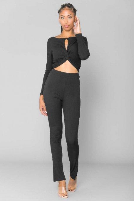 Pantalon fluide côtelé noir