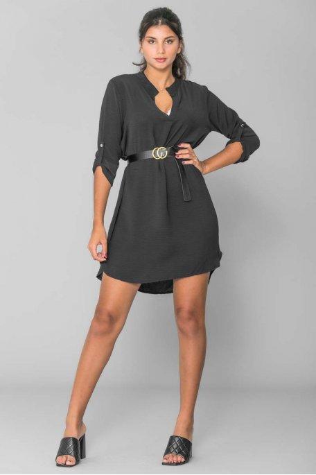 Robe tunique avec ceinture noir