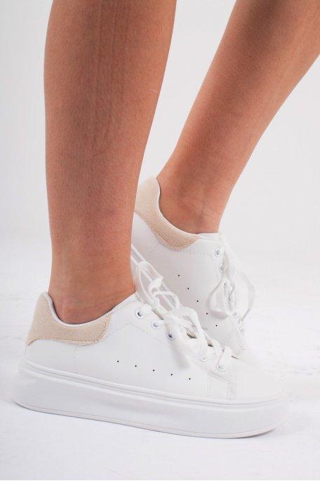 Baskets basses blanches détail velours beige