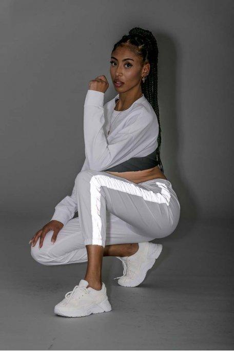 Pantalon blanc bandes flash