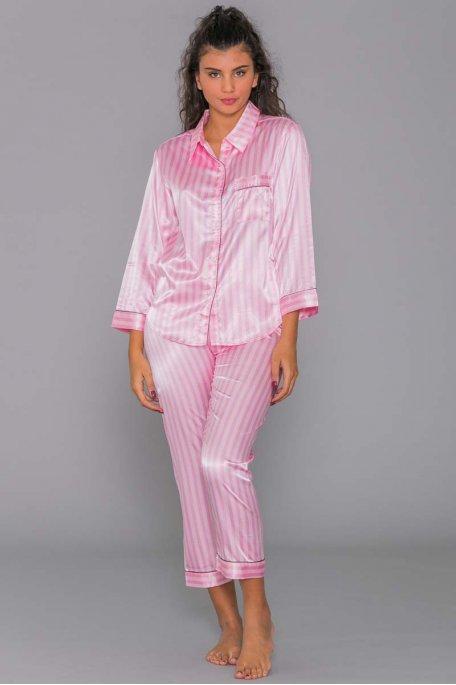 Ensemble pyjama rose rayé satiné