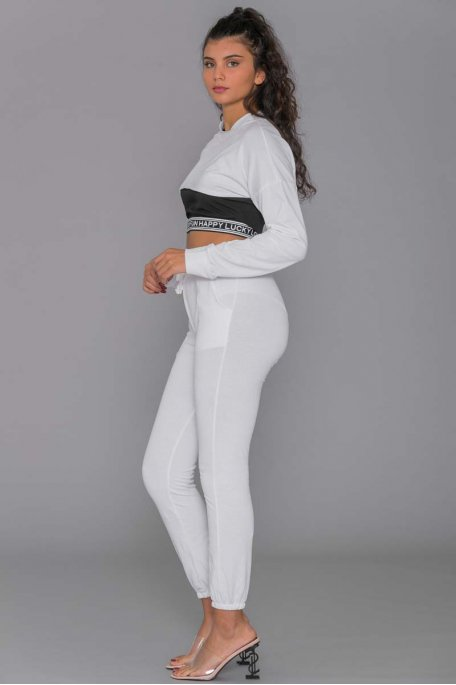Ensemble jogging blanc