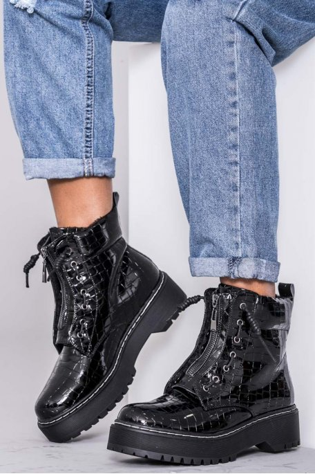 Bottines noires zip croco vernies