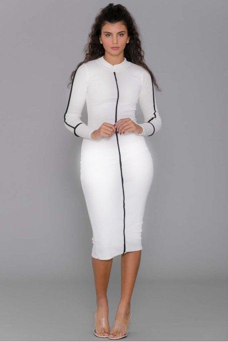 Robe longue côtelée blanche