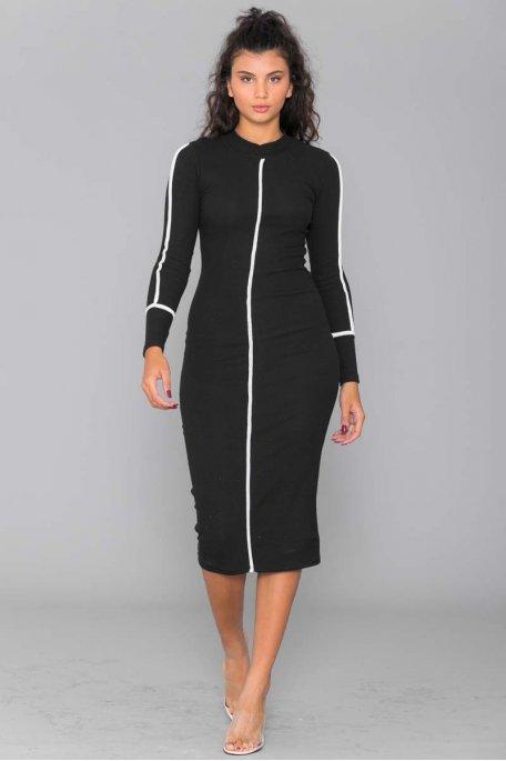 Robe longue côtelée noire