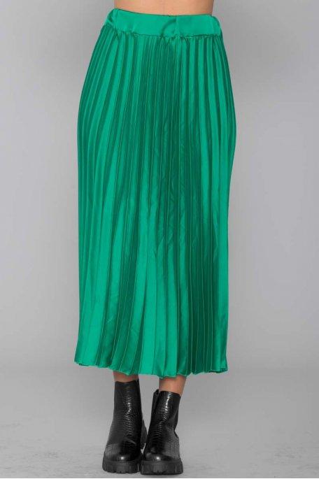 Jupe satinée plissée verte
