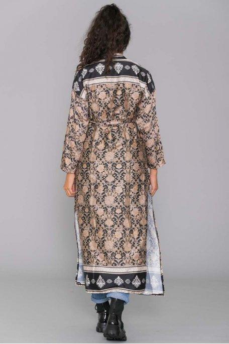 Kimono motif baroque noir