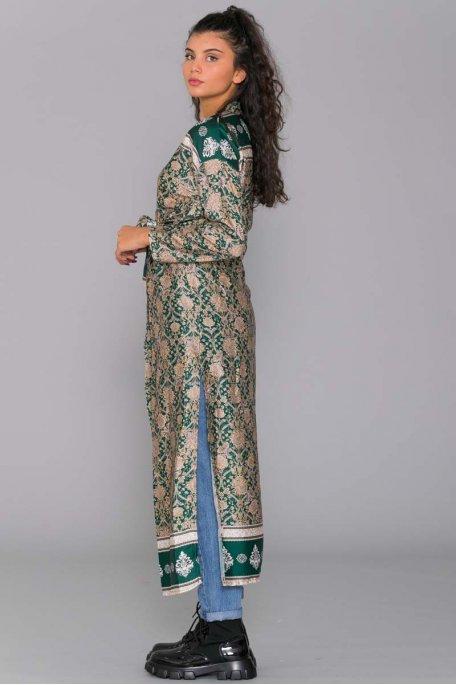 Kimono motif baroque vert