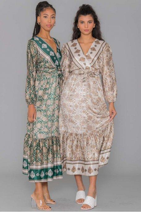 Robe longue motif baroque verte