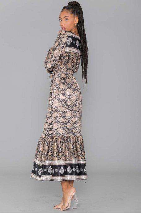 Robe longue motif baroque noire