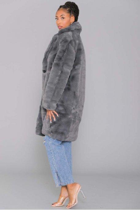 Manteau fourrure à bouton gris
