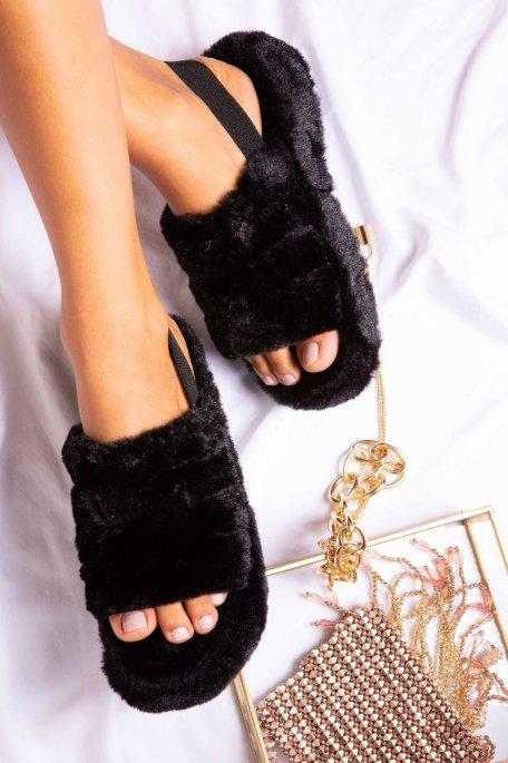 Claquettes fourrures noir
