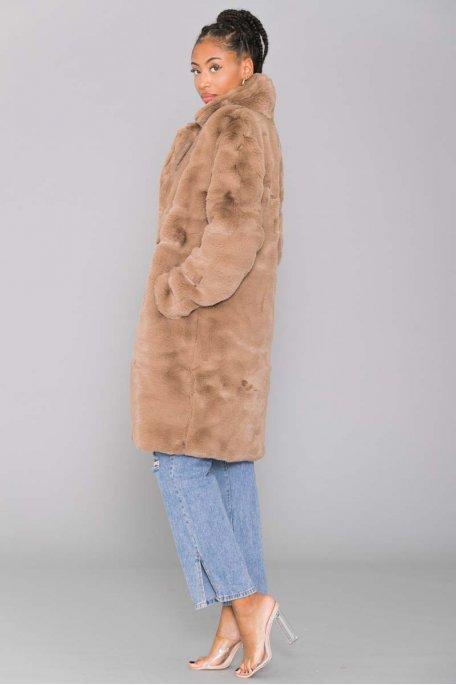 Manteau fourrure à bouton camel