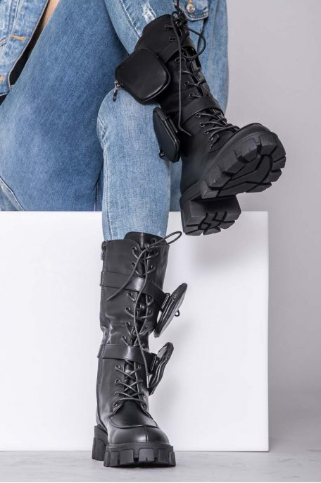 Bottines à poches noir