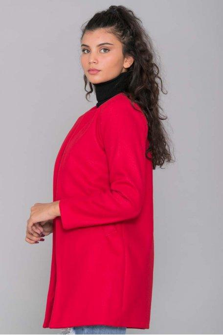 Manteau rouge fin mi-long col rond