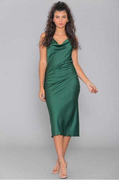 Robe longue satinée verte