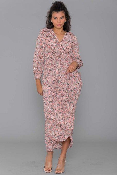 Robe longue fleurie plissée rose