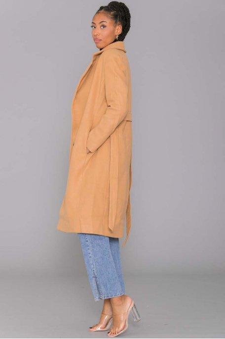 Manteau long à bouton camel