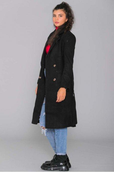 Manteau long à bouton noir
