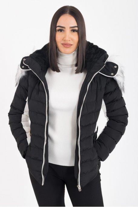 Doudoune noire à capuche fourrure blanche