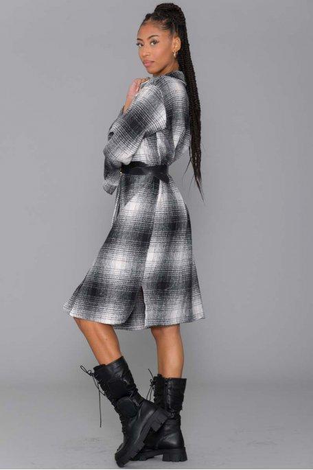 Veste longue style chemise à carreaux gris