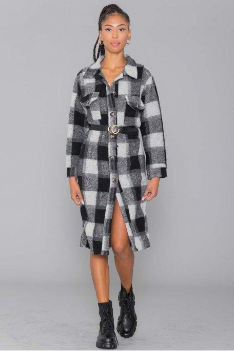 Veste longue style chemise en laine gros carreaux noir