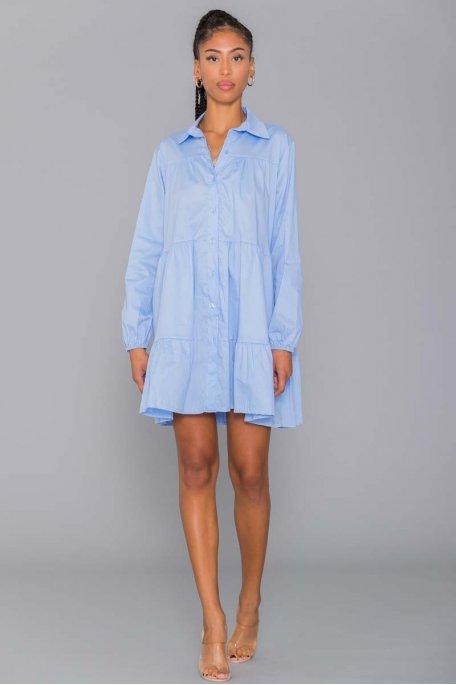 Robe chemise à volant bleu