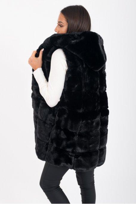 Gilet noir fausse fourrure capuche