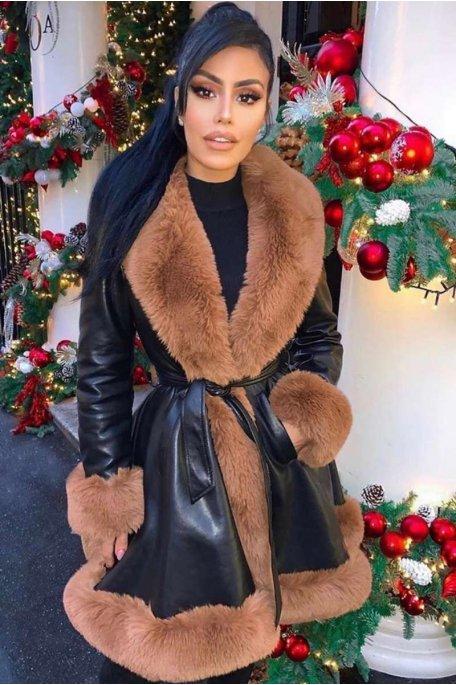Manteau simili cuir fausse fourrure camel