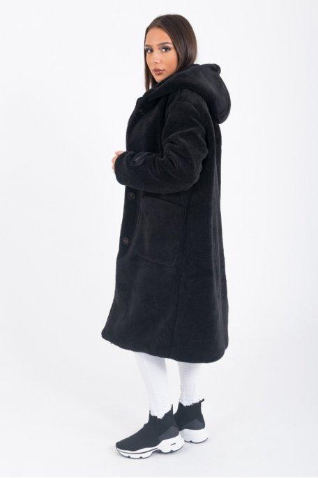 Manteau long beige Teddy à capuche