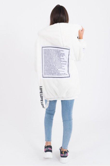 Veste à capuche blanche fausse fourrure Love