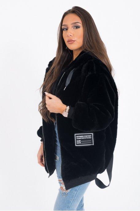 Veste à capuche noire fausse fourrure Love