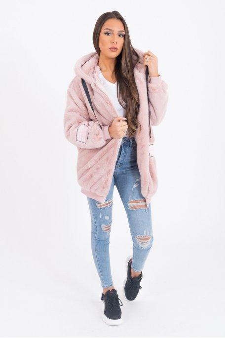 Veste à capuche rose fausse fourrure Love