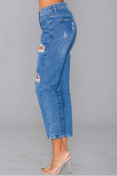Jean taille haute mom bleu