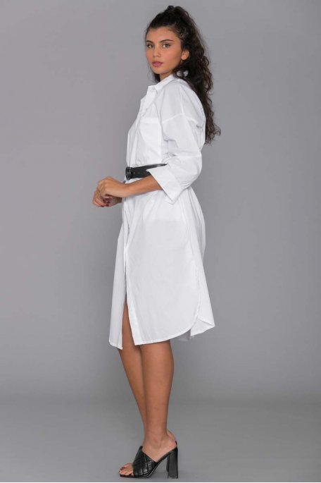 Robe chemise oversize blanche
