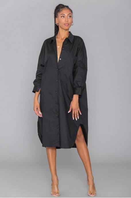Robe chemise oversize noire