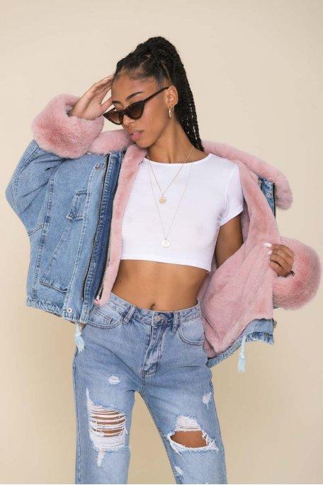 Veste en jean bleu doublée fausse fourrure rose