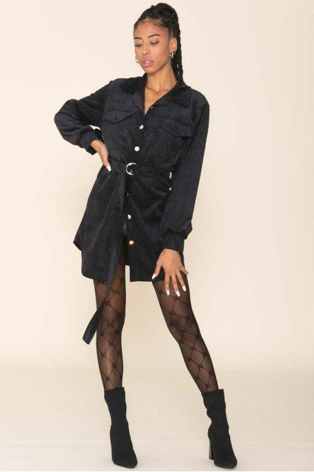 Robe chemise ceinturée velours noir