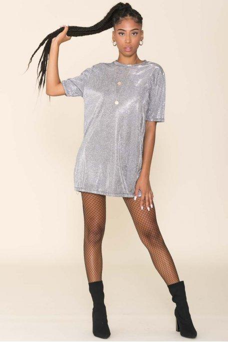 Robe tee-shirt pailletée argenté