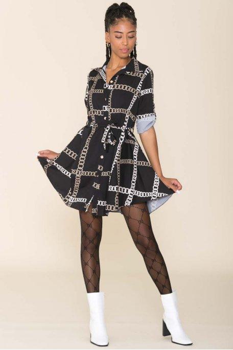 Robe chemise motif chaîne noir